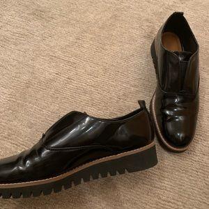 Zara Woman black patent brogue loafers